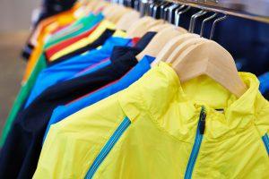 Sportswear on a hanger in the store